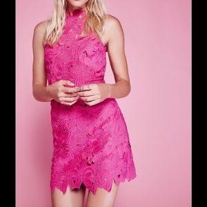 Free People x Saylor Jessa Pink Lace Mini Dress M